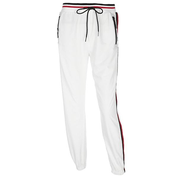 Side Striped White Casual Pants