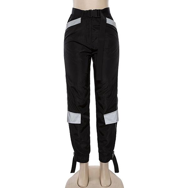 Baggy Reflective Buckle Belt Harem Pants