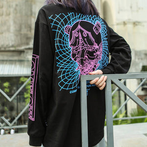 3D Line Devil Printed Long Sleeve T-Shirts