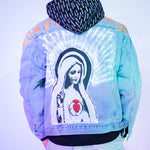 Vintage Virgin Mary Painting Print Denim Jackets