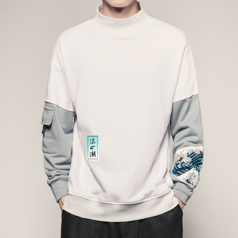 Men's Color-block Turtle Neck Wave Printed Sweatshirt