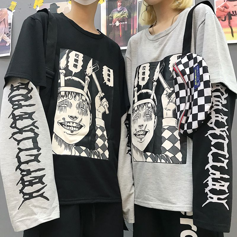 Horror Comic Print Fake 2 Pieces Patchwork Sweatshirt