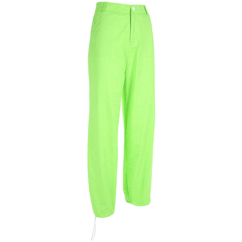 Neon Green Women High Waisted Joggers