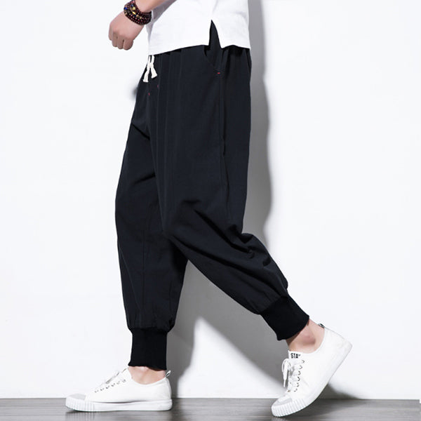 Men's vintage cotton and linen casual trousers