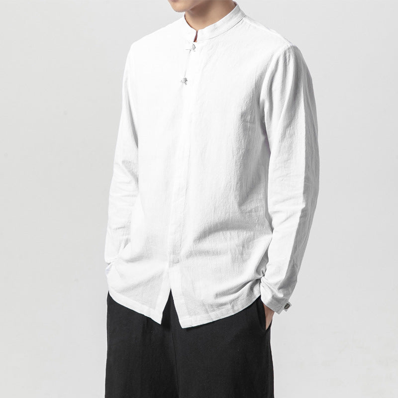 Men's Chinese Frog Solid Color Stand-up Collar Long-sleeved Shirt