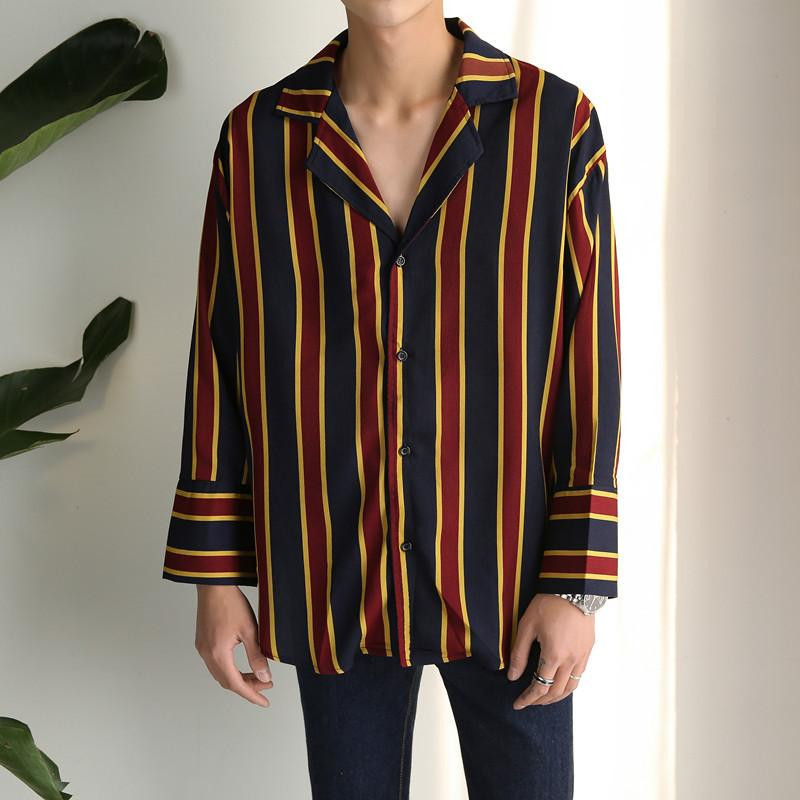 GD Chiffon Pajamas Striped Three-quarter Sleeve Shirts