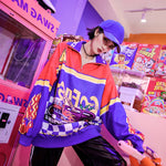 Harajuku Racing Car Print Zipper Sweatshirts