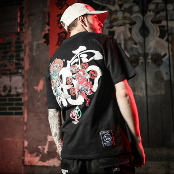 Men's Vintage Embroidered Loose Short Sleeve T-Shirt