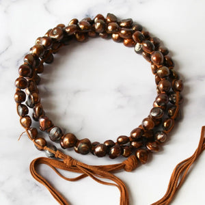 Classic Boho Copper Pearl Necklace