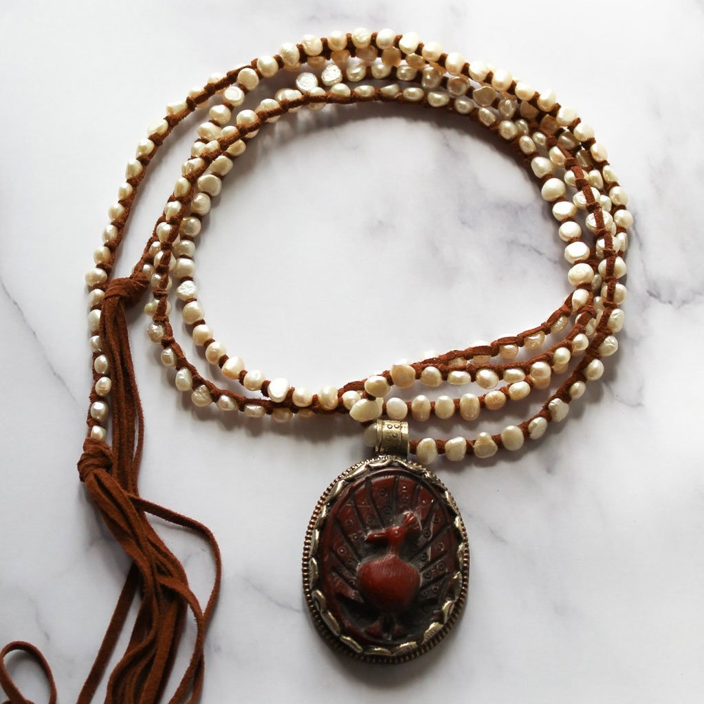 Pearls and Vintage Tibetan Pendant