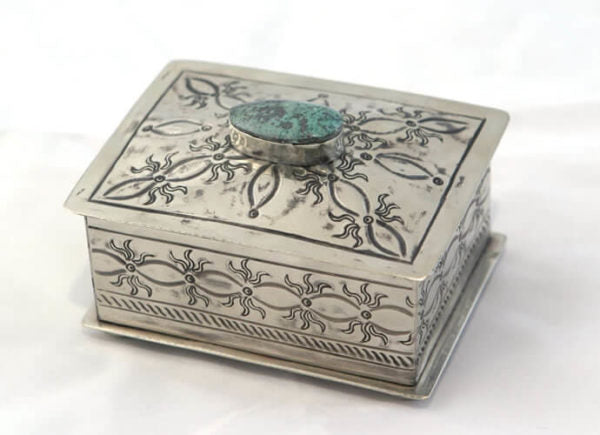 Small Stamped Box with Turquoise