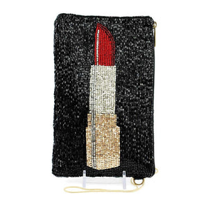 Touch Up Beaded Lipstick Crossbody Phone Bag
