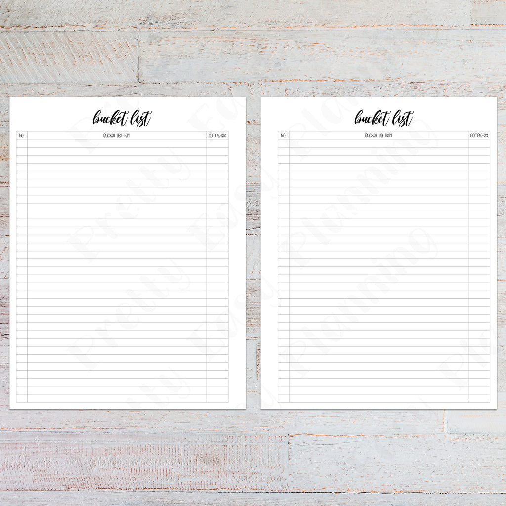 Happy Planner Classic Bucket List | PRINTABLE