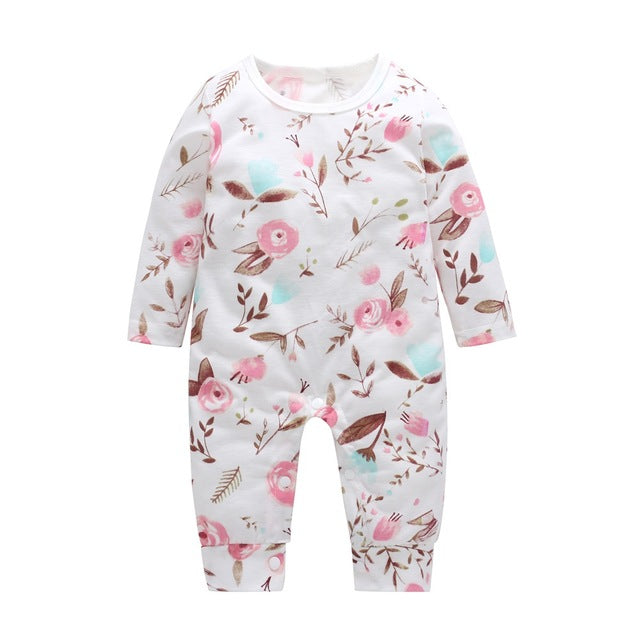 0c107a1dfc9 Floral Printed Winter Cotton Girl Romper – newerababy