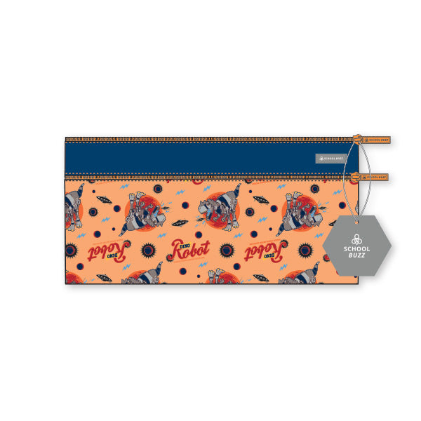 2 Zip Pencil Cases - Dino Robot