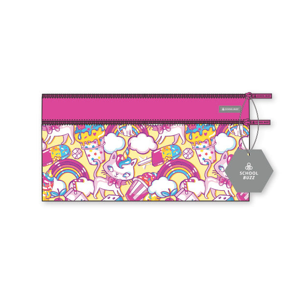 2 Zip Pencil Cases - Kitty Cupcake