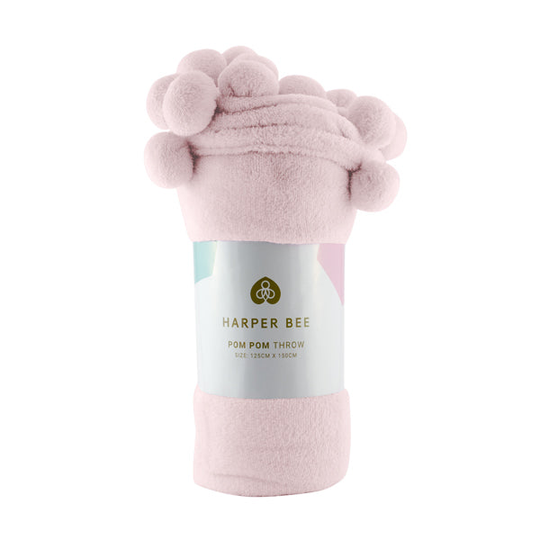Harper Bee Pom Pom Throw - Candy Floss