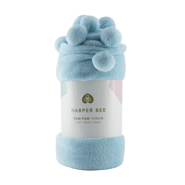 Harper Bee Pom Pom Throw - Ice Blue