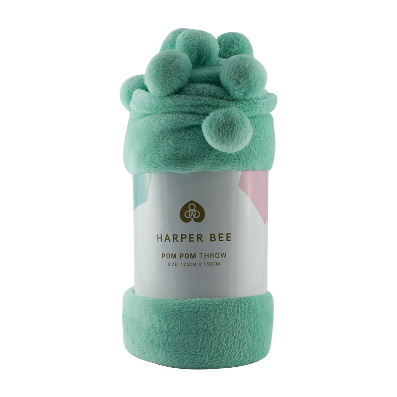 Harper Bee Pom Pom Throw - Aqua
