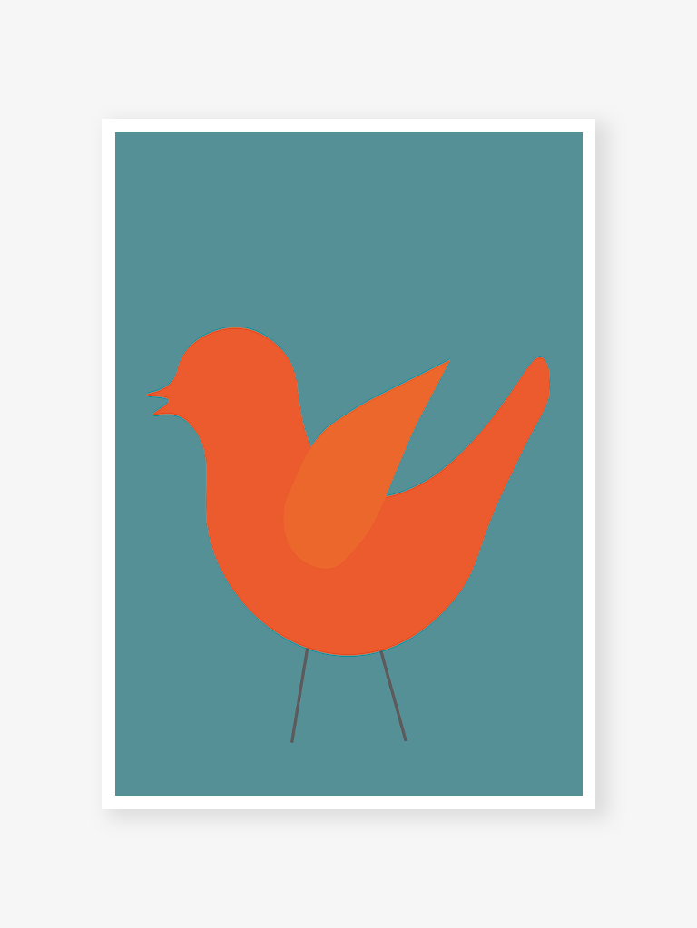 Geometric Bird on blue | Art print