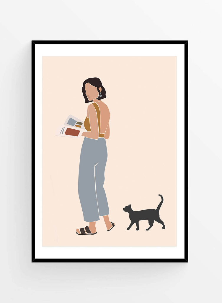 Lady & her cat | Art Print