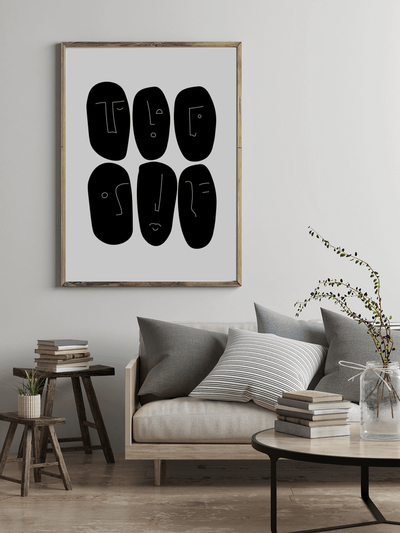 Black faces | Art Print