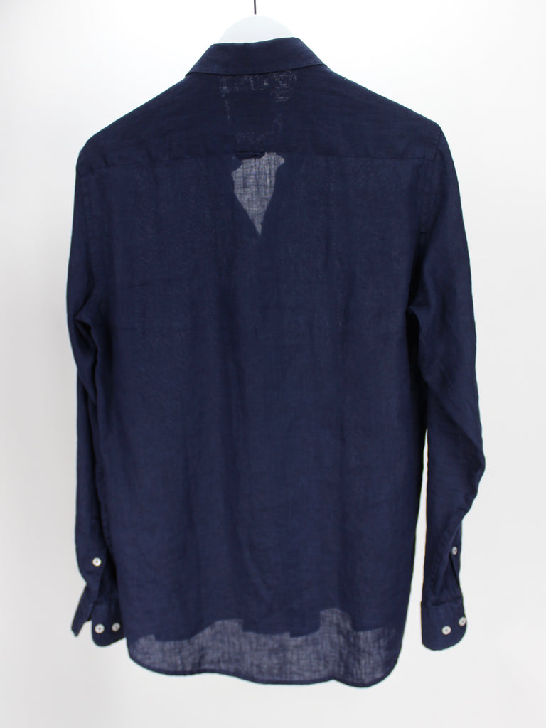 Navy Blue Linen Shirt
