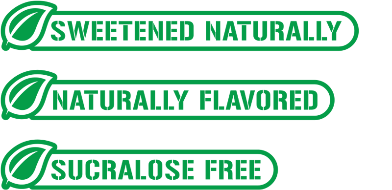 Sweetened Naturally, Naturally Flavored, Sucralose Free