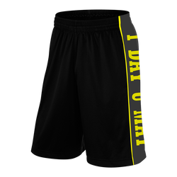 1DAYUMAY, Black Shorts with Yellow Lettering