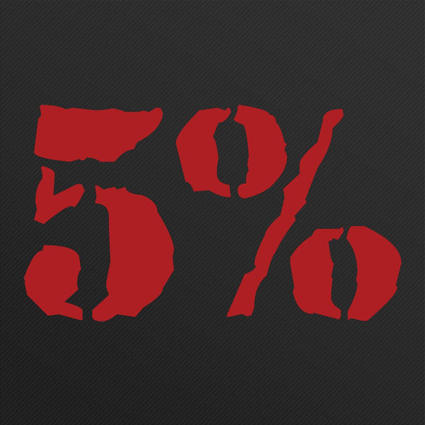 5% Vinyl Decal, Small (Red or White)