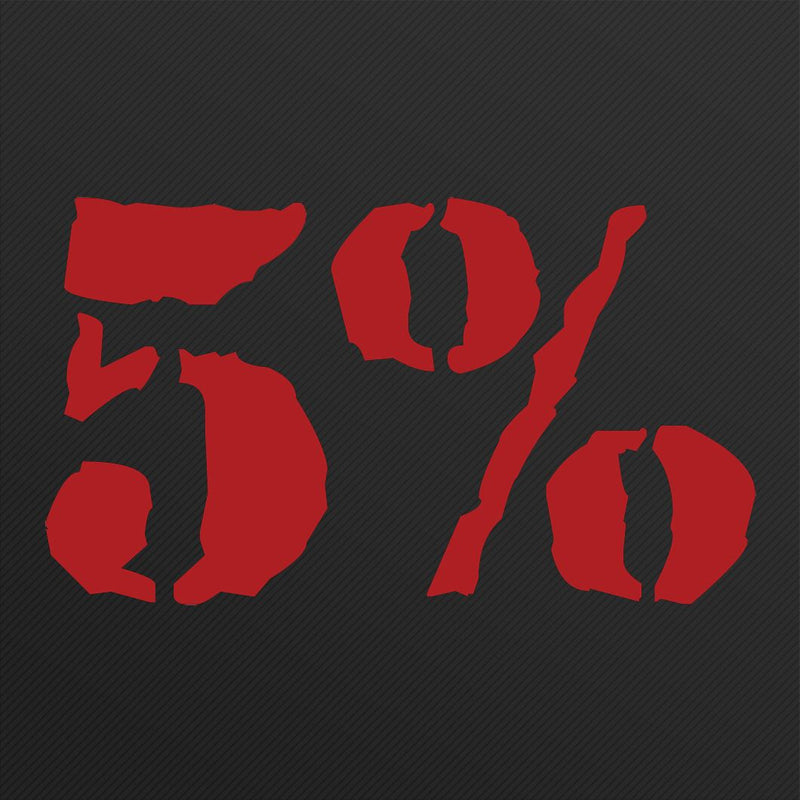 "5% Logo 12"" Decal (Red or White)"
