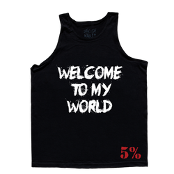 Welcome To My World, Black Tank Top with White Lettering (intl)