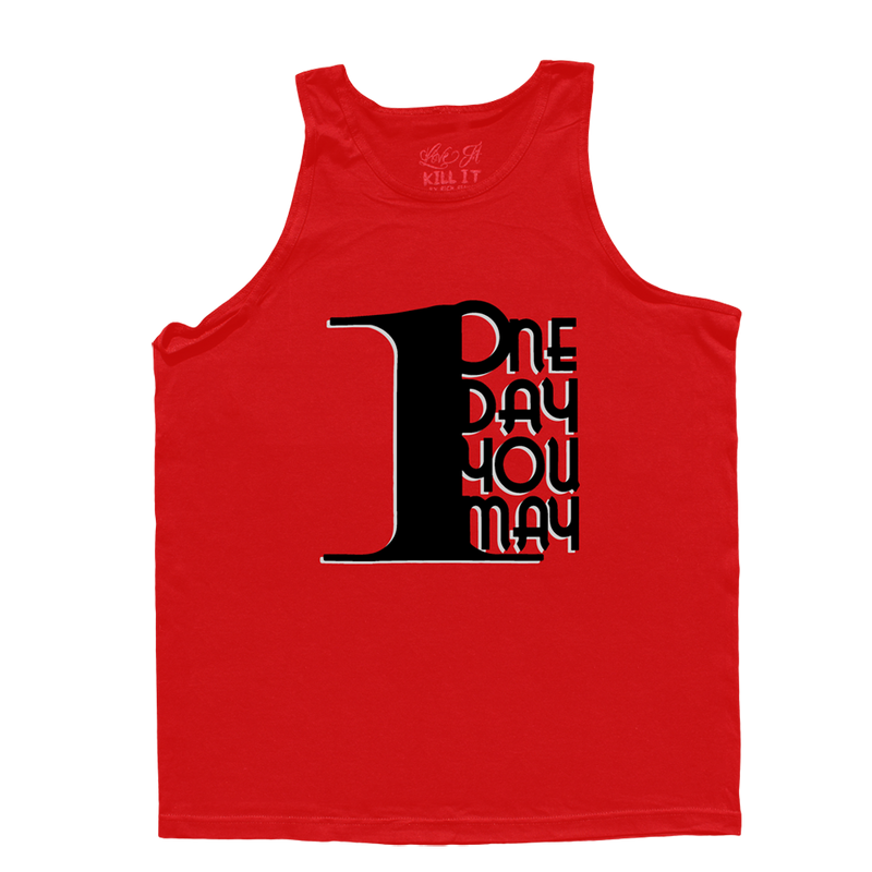 1DAYYOUMAY, Red Tank Top with Black Lettering