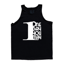 1DAYYOUMAY, Black Tank Top with White Lettering