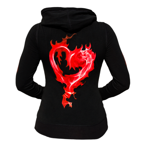 Women's Black Hoodie with Passion and Heart Graphics