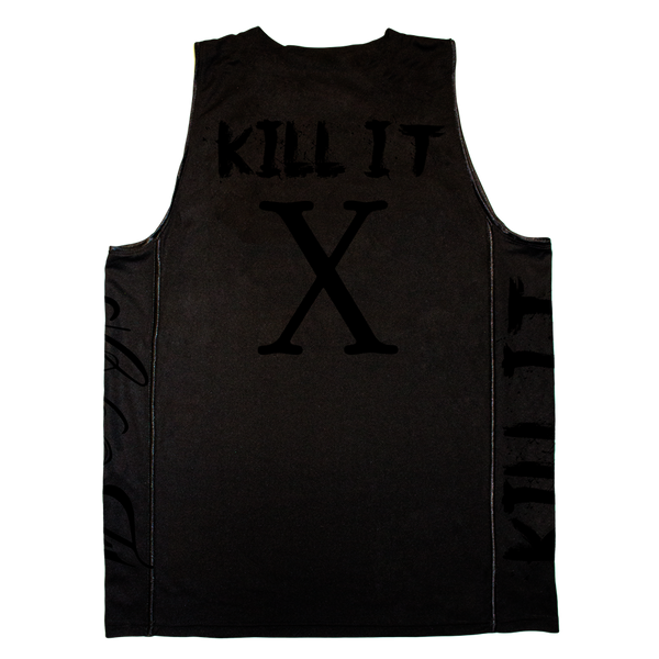 Love It Kill It, Black Basketball Jersey with Red Lettering