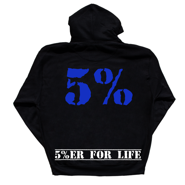 Love It Kill It + 5%ER FOR LIFE, Black Hoodie with Blue Lettering