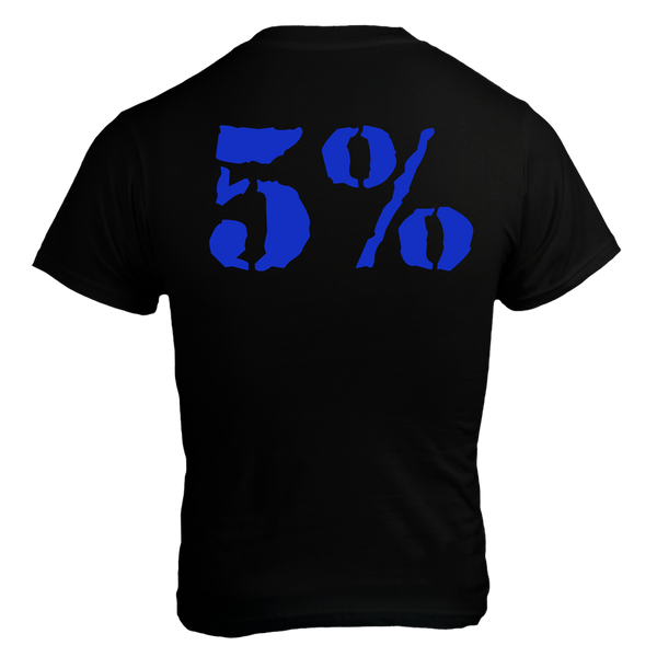 Love It Kill It - 5%, Black T-Shirt with Blue Lettering