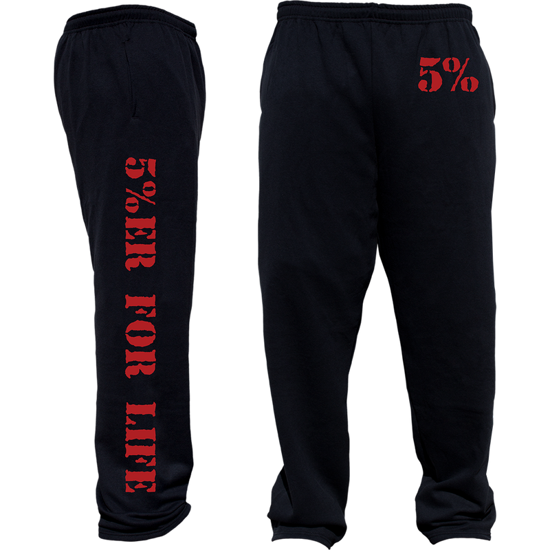 5%ER For Life, Black Sweatpants with Red Lettering