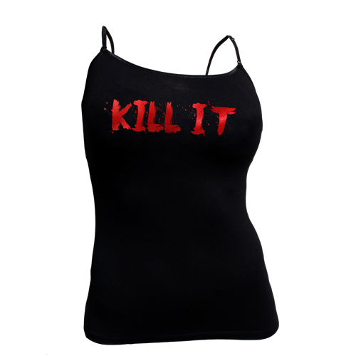 Love It Kill It, Woman's Black Spaghetti Tank with Red Lettering