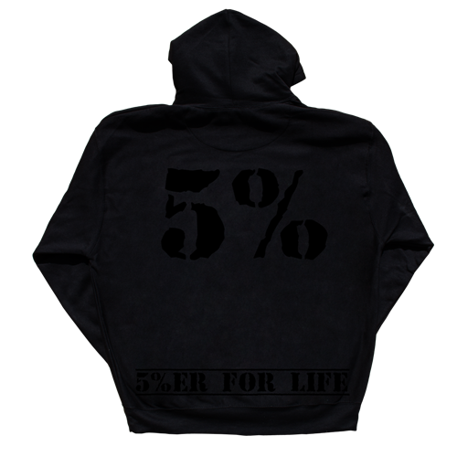 Love It Kill It - 5%ER For Life, Black Hoodie with Black Lettering