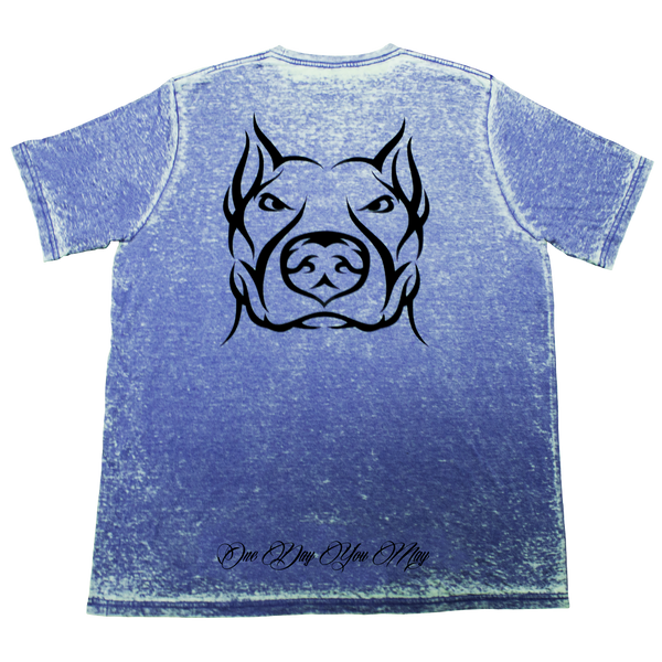 Pride, Blue Acid Wash T-Shirt with Black Lettering