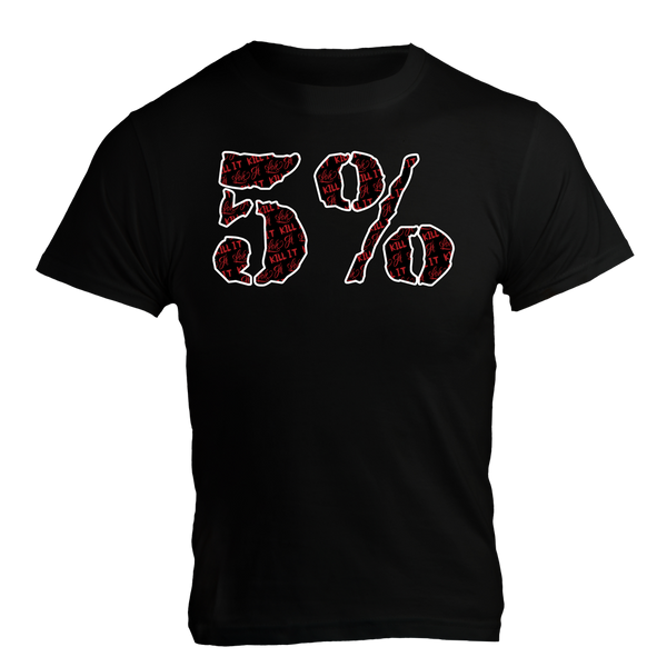 5%, Black T-Shirt with Red Lettering