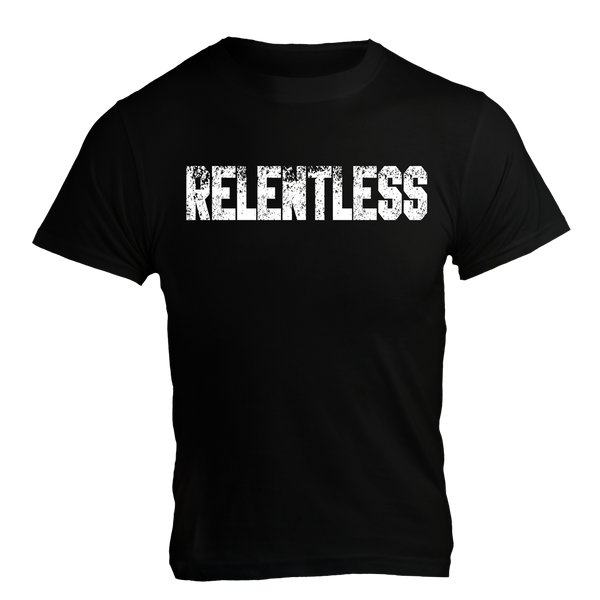 RELENTLESS, Black T-Shirt with White Lettering