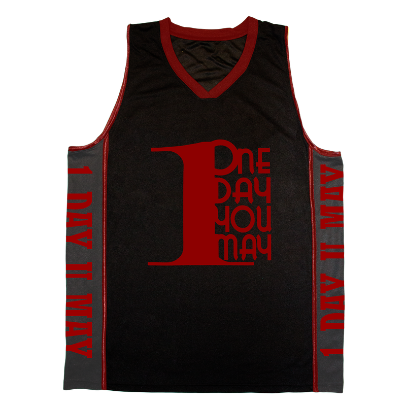 1DAYYOUMAY, Black Basketball Jersey with Red Lettering
