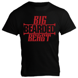 Big Bearded Beast, Black T-Shirt with Red Lettering