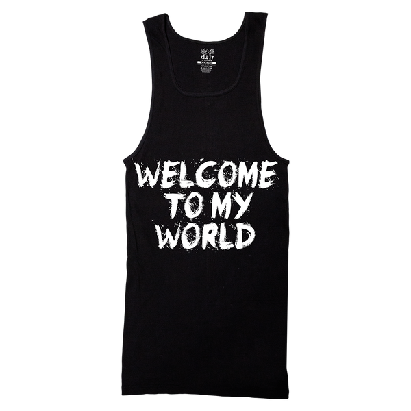 Throwback 5% Cash Logo with Welcome to My World, Black Ribbed Tank Top