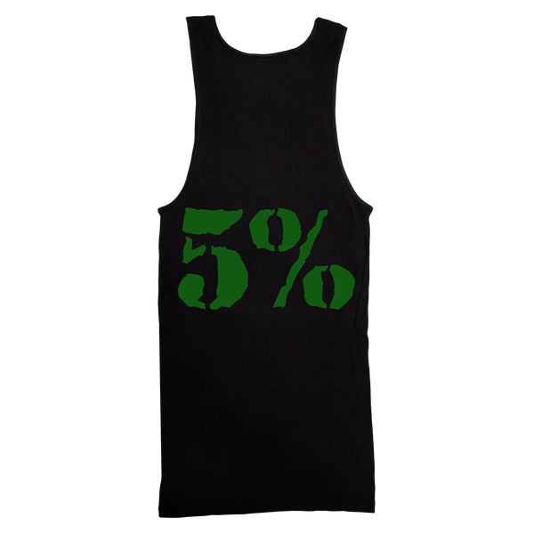 5% Love It Kill It, Black Ribbed Tank Top with Green Lettering