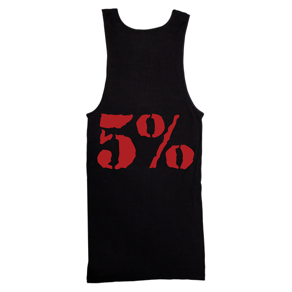 5% Love It Kill It, Black Ribbed Tank Top with Red Lettering