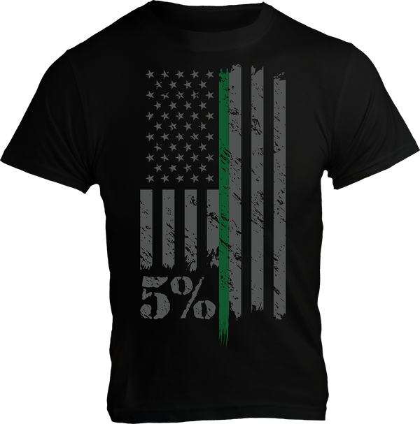 Military, Black T-Shirt with Gray and Green Graphic